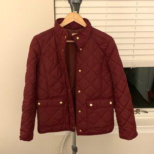 J Crew Maroon puffer jacket